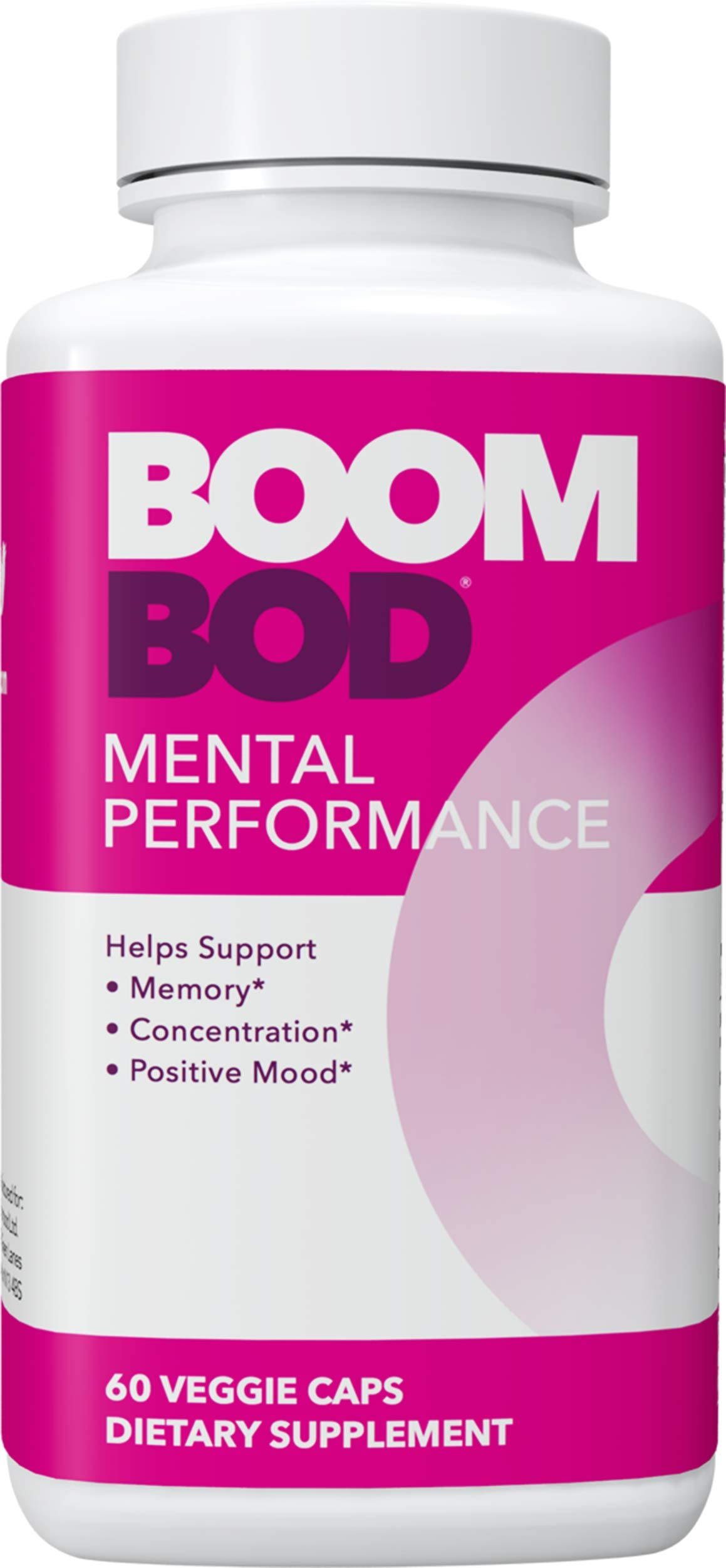 Boombod Mental Performance, Natural Nootropic Supplement - Focus, Concentration, Memory Blend, Positive Mood + Bacopa, L-Theanine, Ginkgo by Boombod