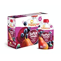 Happy Tot Organic Super Foods Pouch Stage 4 Pears Blueberries & Beets + Super Chia...