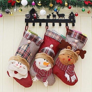 WESEASON Personalizado Navidad Medias De Santa Renos Muñeco De Nieve Santa Sacos De Lujo De Lino De Algodón Bota Navidad Bolsa De Regalo 46 × 27Cm: ...