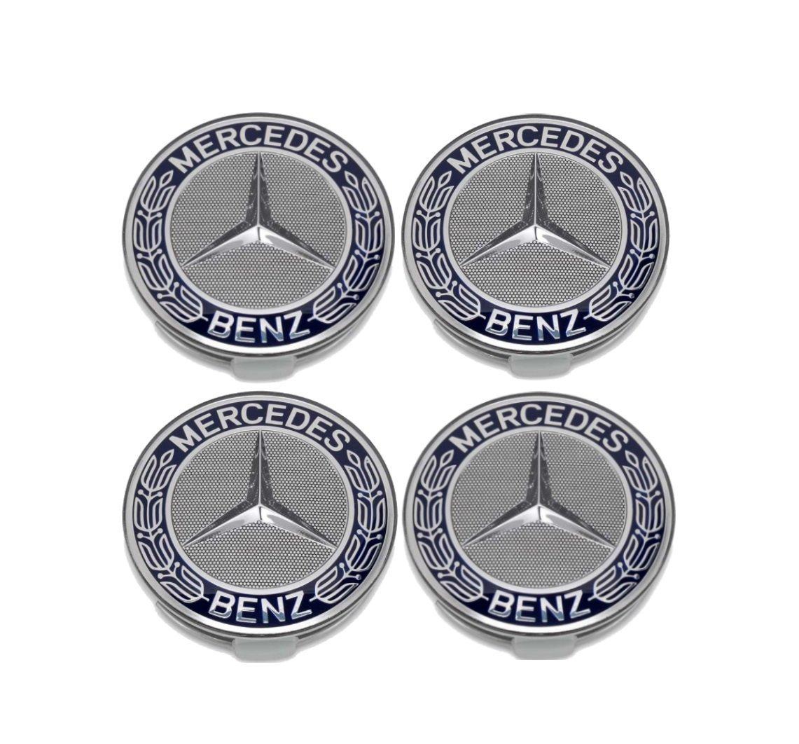 4 Tapacubos compatibles con Mercedes clásico, 75 mm, negro: Amazon.es: Coche y moto