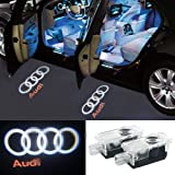 2 Pcs Audi Car Door LED Logo Light Laser Projector Lights Ghost Shadow Welcome Lamp Easy Installation for Audi A3 A4 B5 B6 B7 B8 A6 C5 C6 A5 TT Q7 A4L A1 A7 R8 A6L Q3 A8 A8L