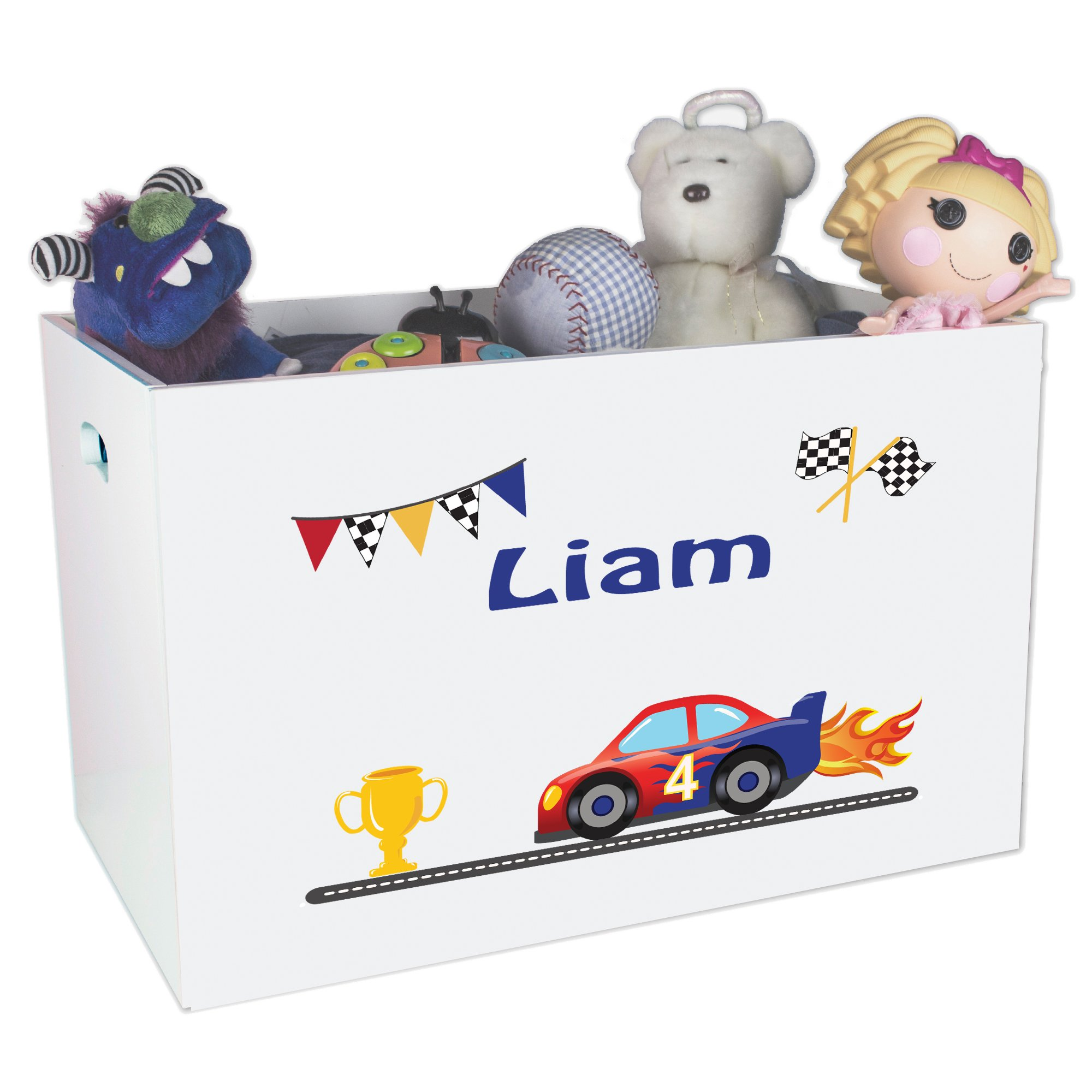 Personalized Cars Childrens Nursery White Open Toy Box