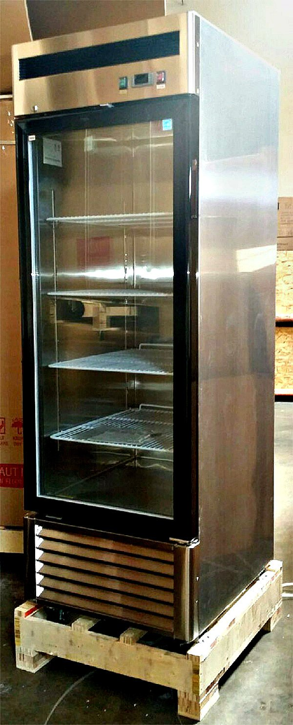 27'' Freezer Single Glass Door Stainless Steel Reach-in Commercial Grade Restaurant - 21 Cu. Ft.