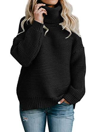 CNJFJ Womens Sweaters Pullover Oversized Turtleneck Knit Christmas Chunky Winter  Sweater Black 4adf47af6