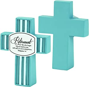 Dicksons Retirement Carry On to Completion Turquoise Stripe Resin Tabletop Cross Figurine