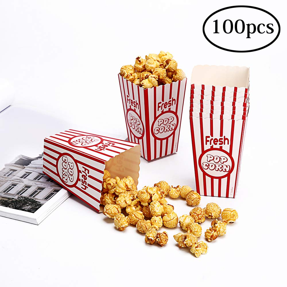 Movie Party Popcorn Boxes Food Grade - Striped Red and White - Popcorn Party Supplies for Movie Night, Festivals, Carnival Party Theme (100boxes)