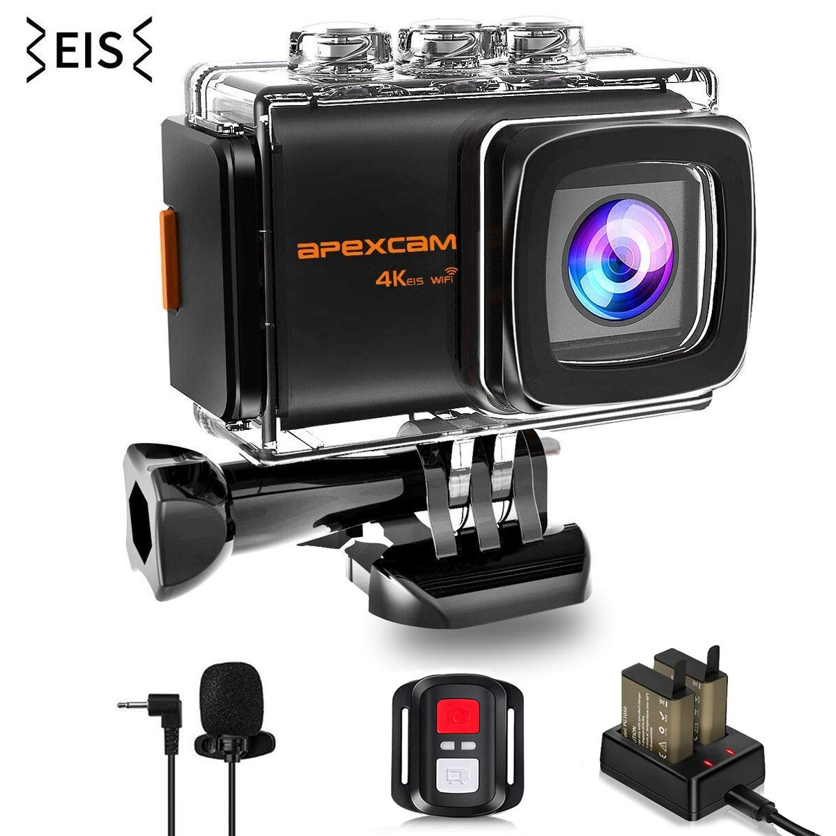 Apexcam 4K 20MP WiFi Action Camera EIS Ultra HD Sports Camera Underwater Waterproof 40M Camcorders External Mic 170° Wide-Angle 2.0' ' LCD 2.4G Remote 2 Rechargeable Batteries and Accessories M80