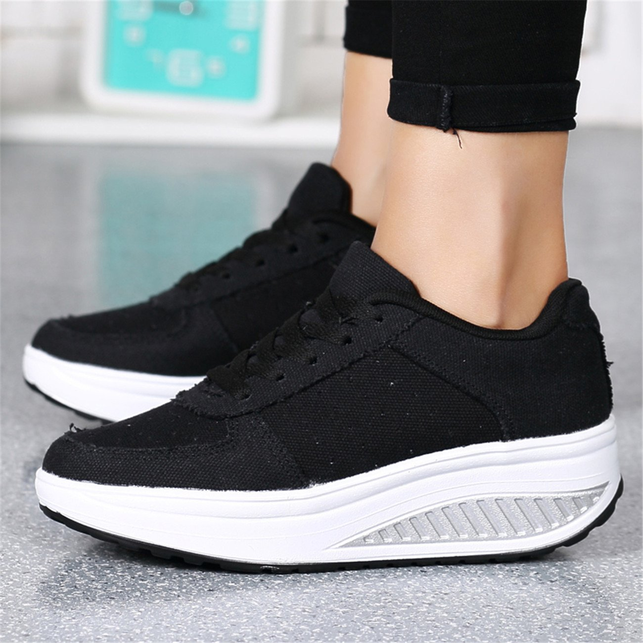 TORMROAD TM Womens Athletic Canvas Walking Shoe Casual Lace up Toning Sneaker Fitness Shoes