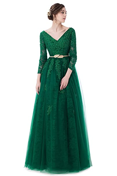 Dingzan Vintage Applique Lace Tulle Bridesmaid Dresses 3 4 Sleeve Prom Gowns