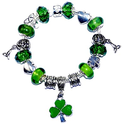 Celtic Heart Triquetra Shamrock St Patricks Day Charm Bracelet with Gift Box blB2Cv6U