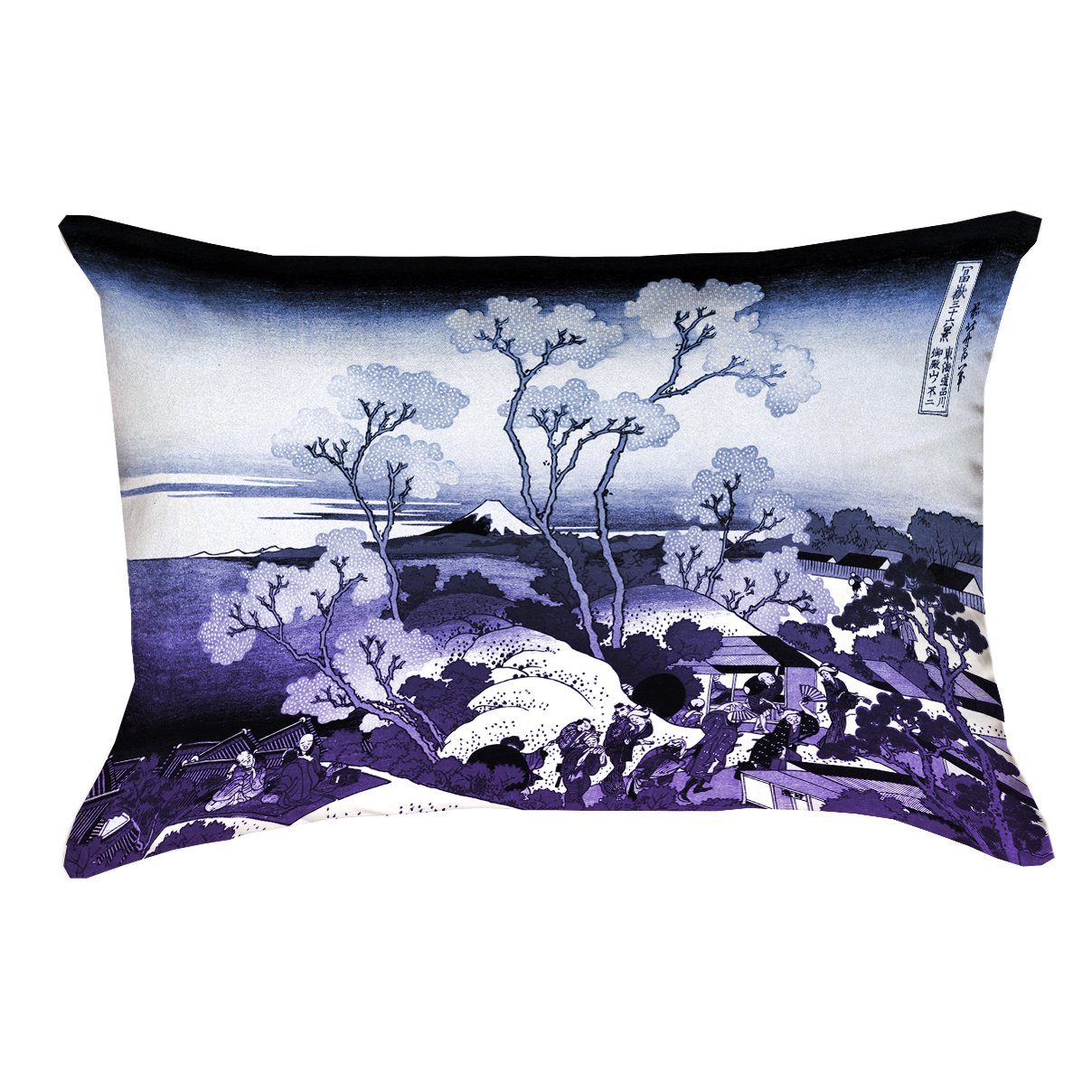 ArtVerse Katsushika Hokusai Mt. Fuji & Cherry Blossoms Blue and Purple Pillow 14' x 20'