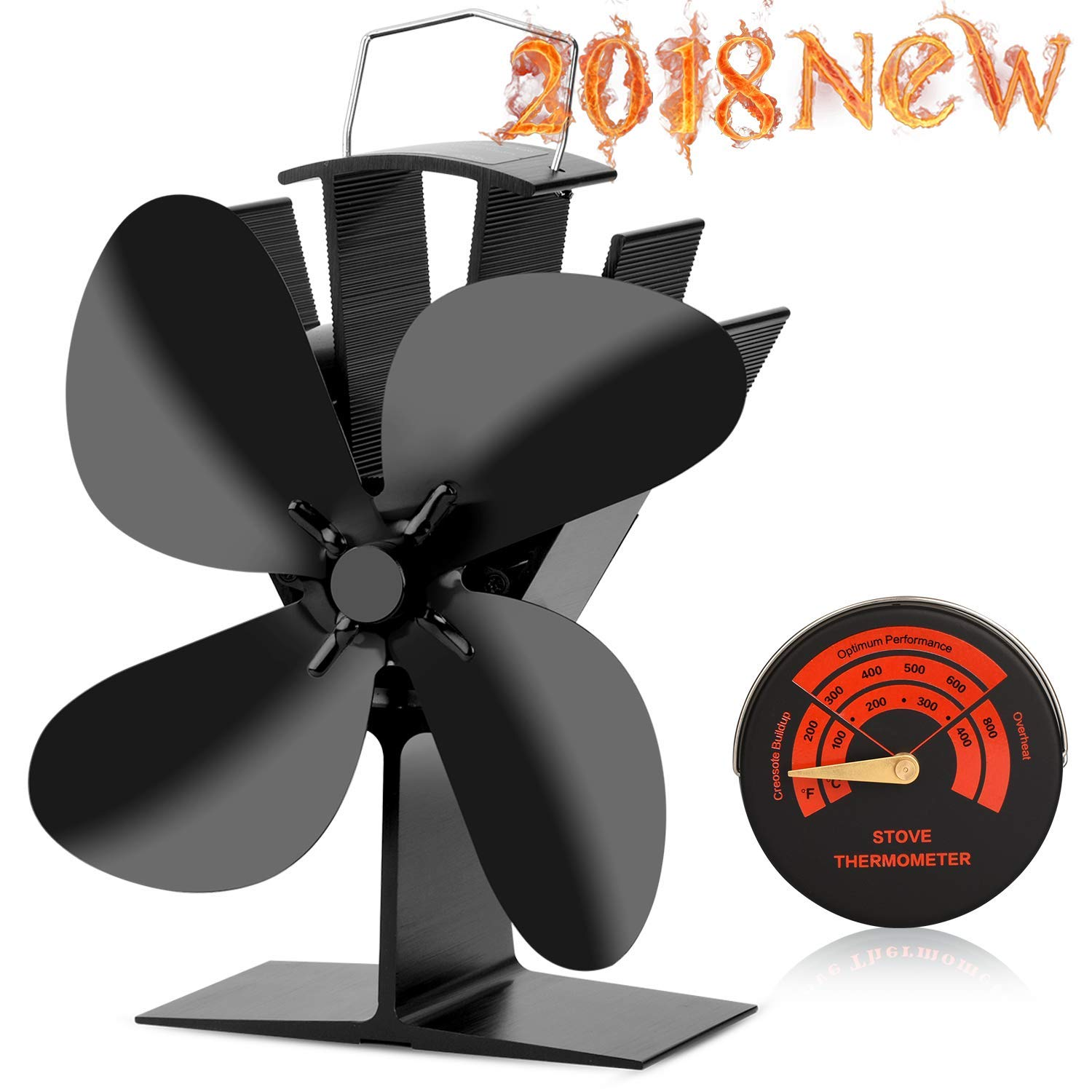 CWLAKON Heat Powered Stove Fan-2018 Upgrade Designed Silent Operation 4 Blades with Stove Thermometer for Wood/Log Burner/Fireplace-Eco Friendly and Efficient Heat Distribution(Black)
