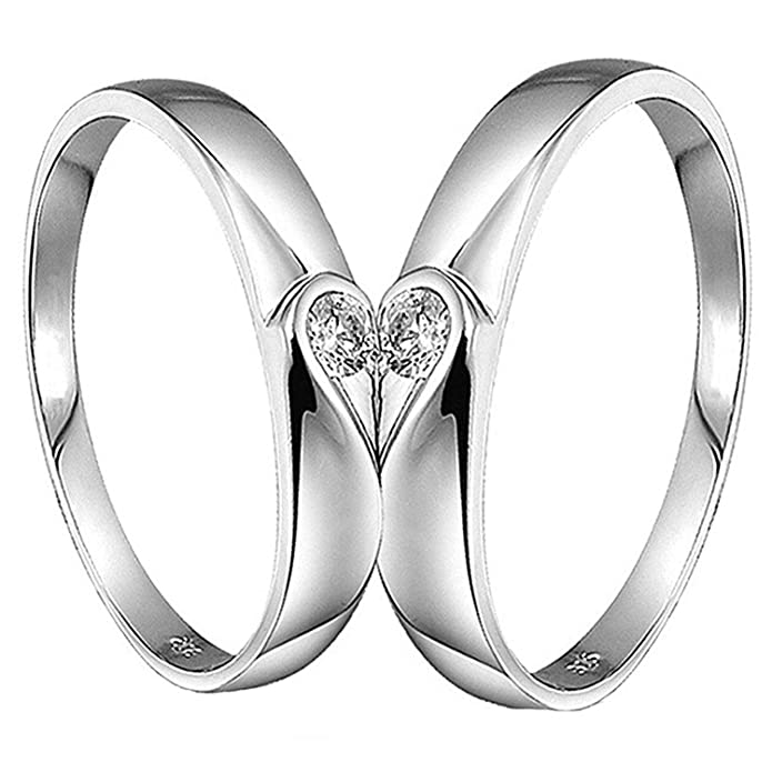 46dbdbaede0 Peora 925 Sterling Silver 2 Pcs His and Her Heart Shape Matching Adjustable  Promise Ring Set Anniversary Engagement Couple Rings for Lovers