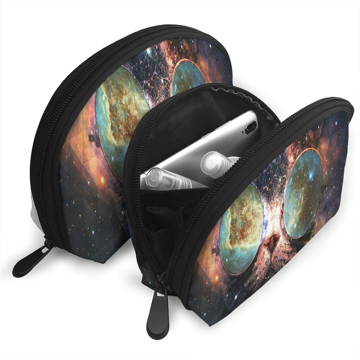 Amazon.com : Makeup Bag Illustration Cat Galaxy Planet Glasses Portable Shell Makeup Case For Mother Halloween Gift 2 Pack : Beauty