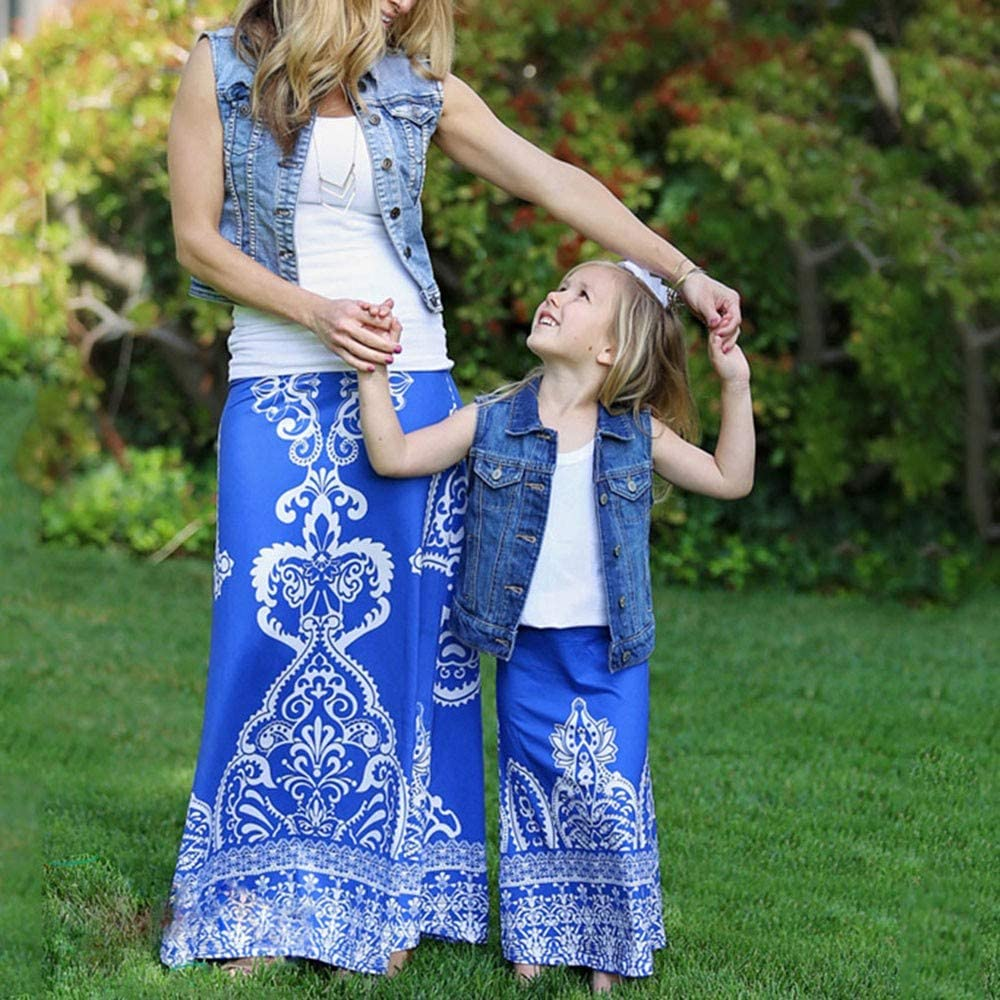 Mommy & Me Lady Girls Floral Print Nation Style Dance Skirt Family Clothes