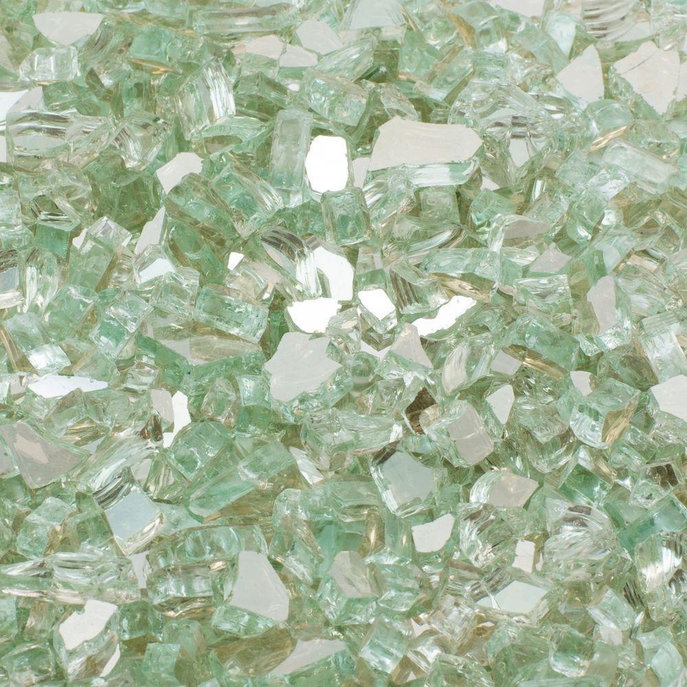 Margo Garden Products 1/2 in. 25 lb. Medium Aqua Reflective Tempered Fire Glass