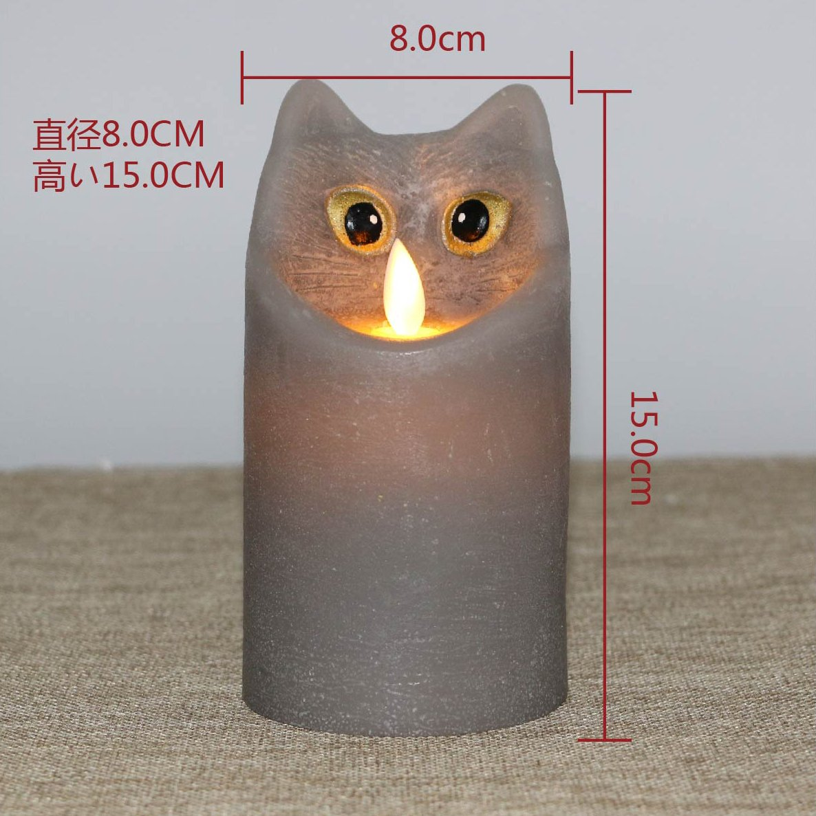 Kitch Aroma Marble Grey Color Cartoon Cat Flameless Candle with Timer For Birthday Gifts,Dia 3'' x H6'',Pack of 2 by Kitch Aroma (Image #7)