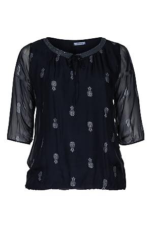 PAPRIKA Damen Große Größen Bluse mit Pailletten Am Ausschnitt Marine 1 (44)