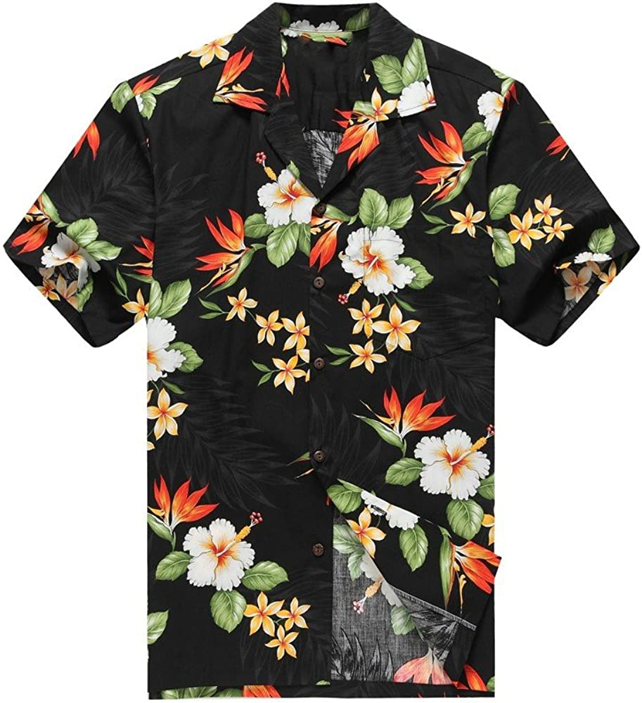 Hecho en Hawai de los Hombres Camisa Hawaiana Camisa de la Hawaiana 2XL Aves Florales Tropicales del paraíso en Negro: Amazon.es: Ropa y accesorios