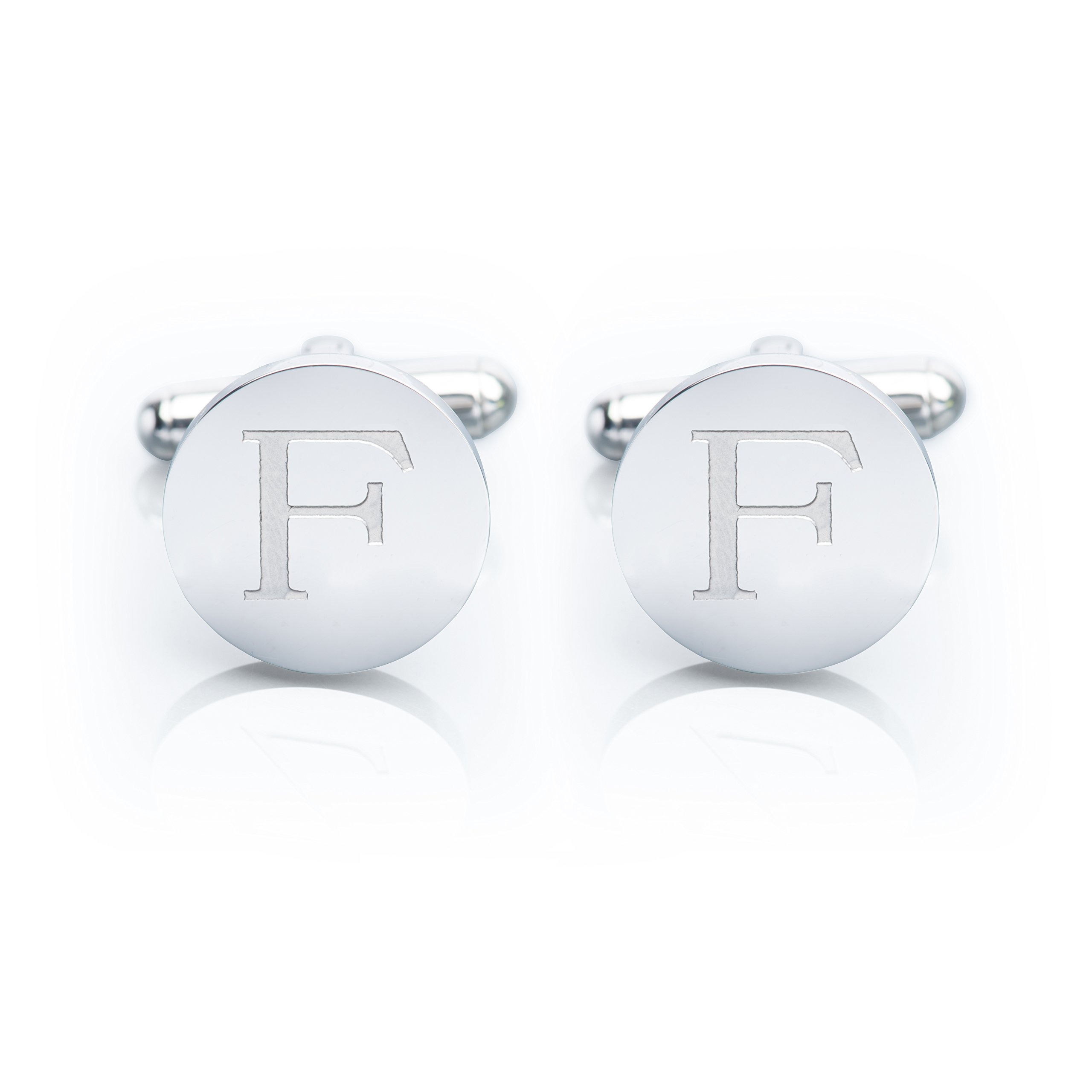 Men's 18K White Gold-Plated Engraved Initial Cufflinks with Gift Box– Premium Quality Personalized Alphabet Letter (F - White Gold)