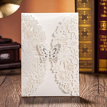 Wishmade 50x White Laser Cut Lace Wedding Invitations Cards With Butterfly  Hollow Flowers Cardstock For Engagement