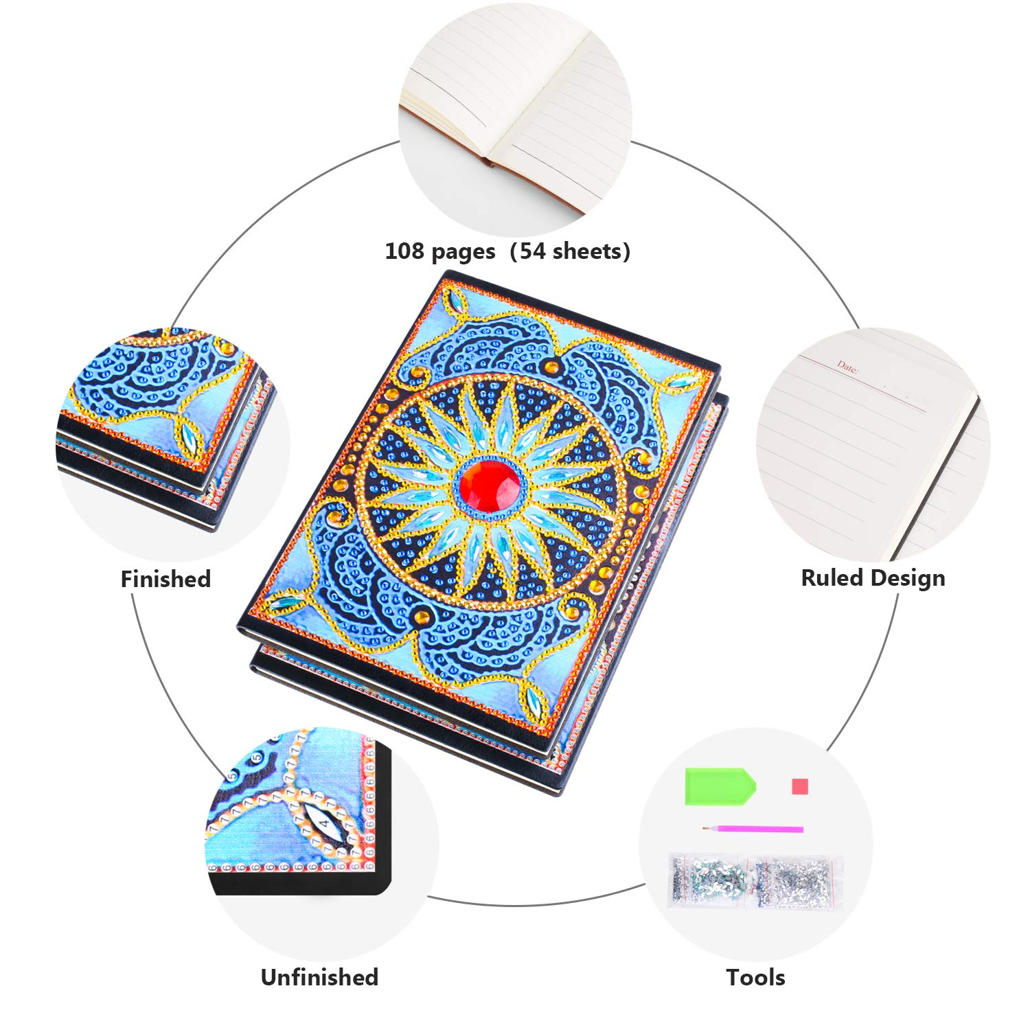 Diamond Painting Cover Notebook DIY Diamond Art Diary Book Flower Journal Notebook 108 Pages//54 Sheets A5 Ruled Special Shaped Book