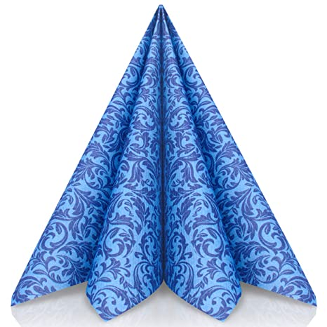 GRUBly Servilletas Azul de Papel gofrado Fino Ornamental | Servilletas Papel de Fiesta como servilletas de Tela | Ideal Cenas Bodas Cumpleaños ...