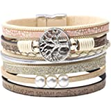 ISHOW Tree of Life Multilayer Leather Wrap Bracelets,Boho Handmade Gorgeous Cuff Bracelet with Magnetic Buckle,Casual…