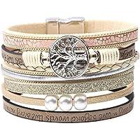 KSQS Bohème Multicouches Manchettes en Cuir Bracelets Faits à la Main tressés Boucle magnétique Collier de Bracelet Occasionnel pour Les Femmes et la Fille