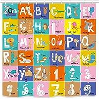 UNIFEEL - Cortina de ducha de tela del alfabeto para niños ABC, herramienta de aprendizaje educativo para niños y bebés…