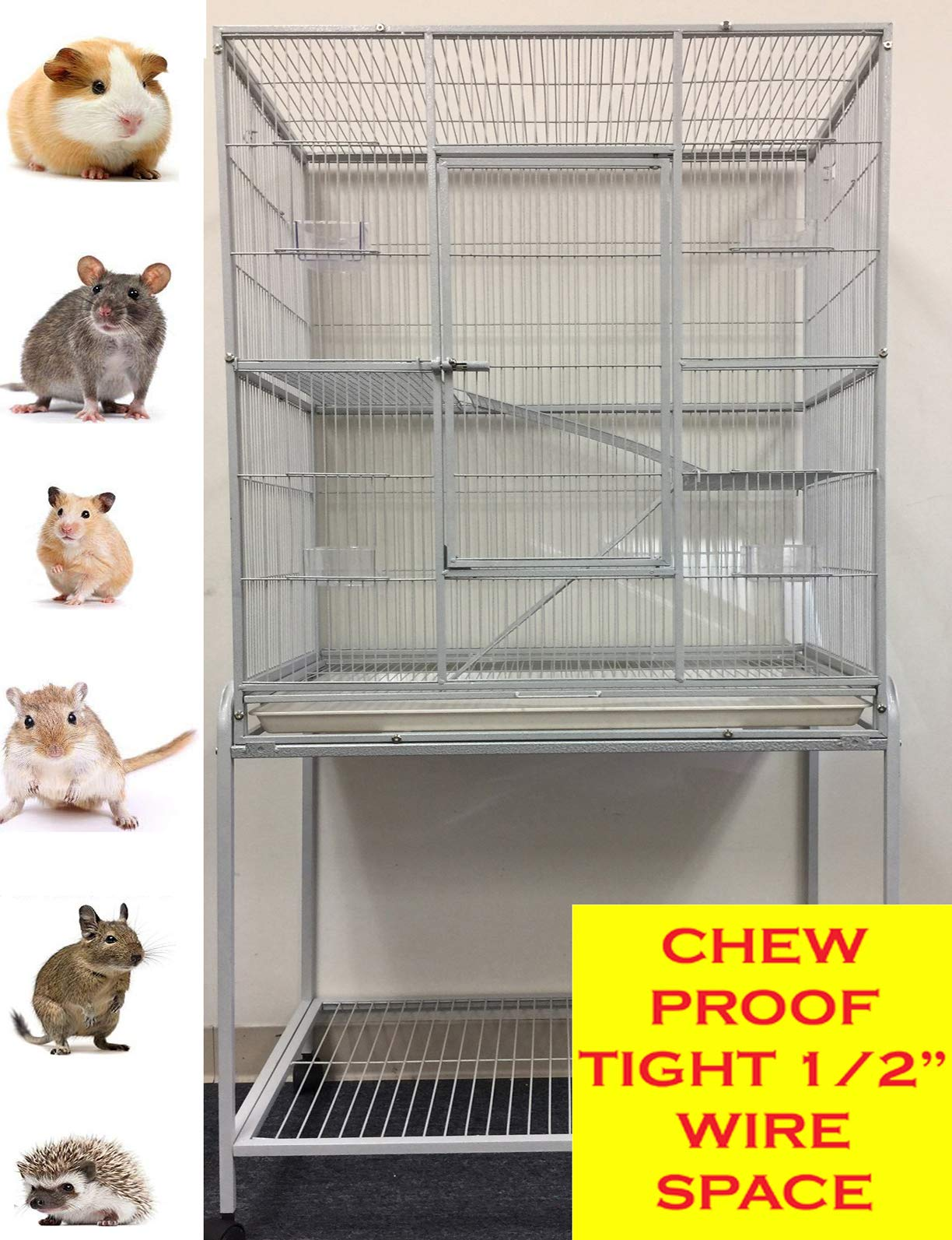 Mcage New Large Wrought Iron 4 Levels Ferret Chinchilla Sugar Glider Cage 30-Inch by 18-Inch by 63-Inch with Stand on Wheels by Mcage