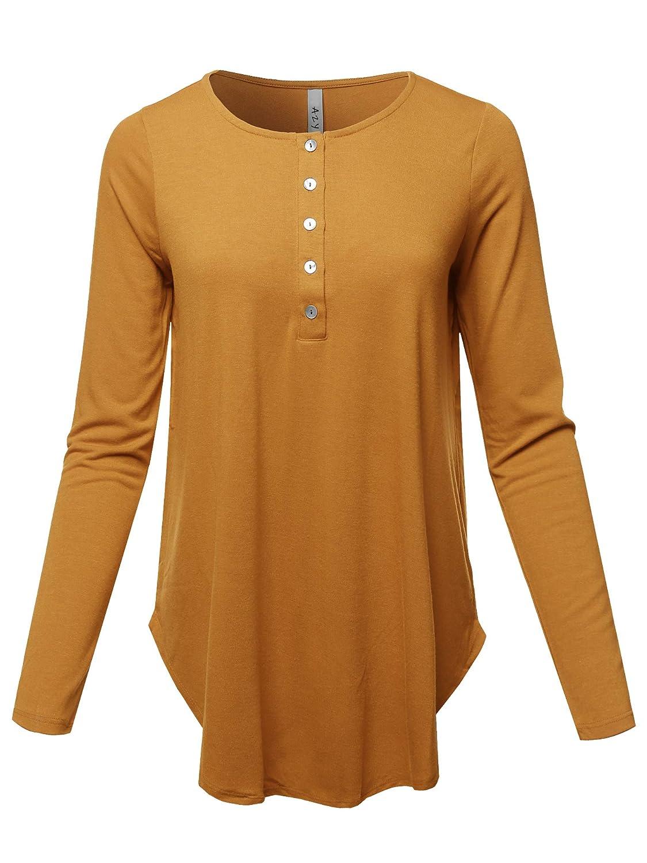 Yawtel0003 Desert Mustard A2Y Women's Premium Long Sleeve Dolphin Hem Shell Button Henley Top (S  3XL)