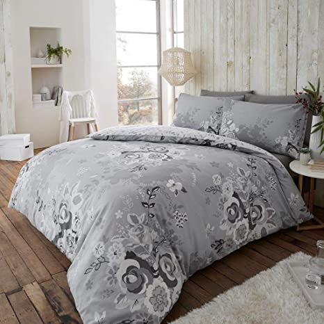 Nordic Folk Heart Flannelette Thermal Duvet Quilt Cover Floral Bedding Set