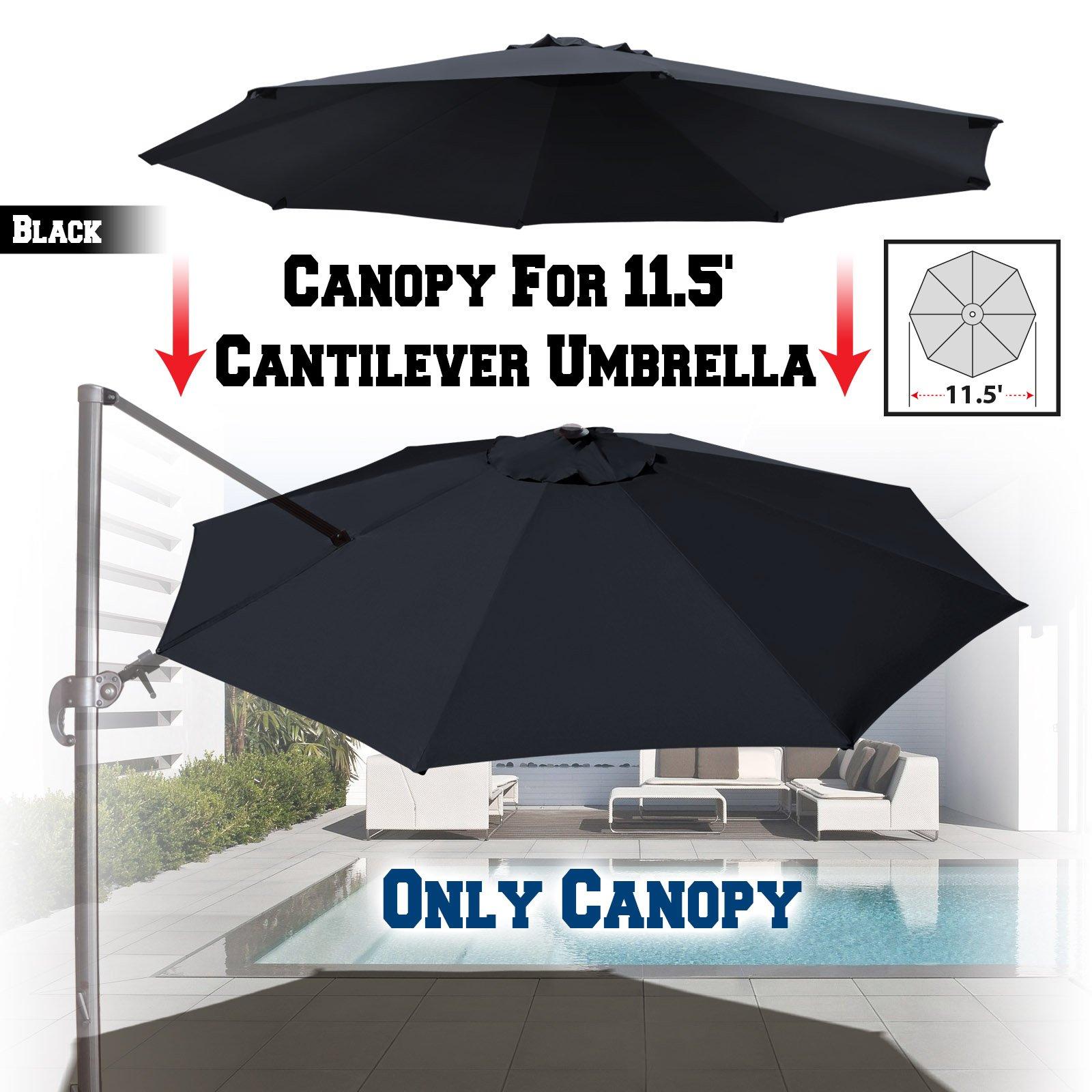 BenefitUSA Replacement Canopy for 11.5' Roma Cantilever Patio Umbrella Parasol Top Cover (Black) by BenefitUSA