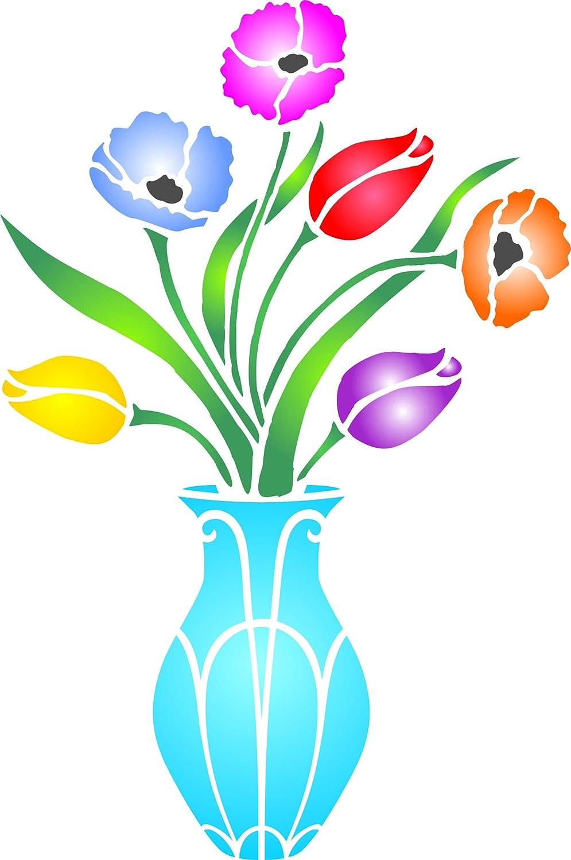 Ramo de flores jarrón diseño de - (tamaño 27 x 41 cm) reutilizable de pared plantillas para pintar - mejor calidad ideas para pared frontera flores - uso en ...