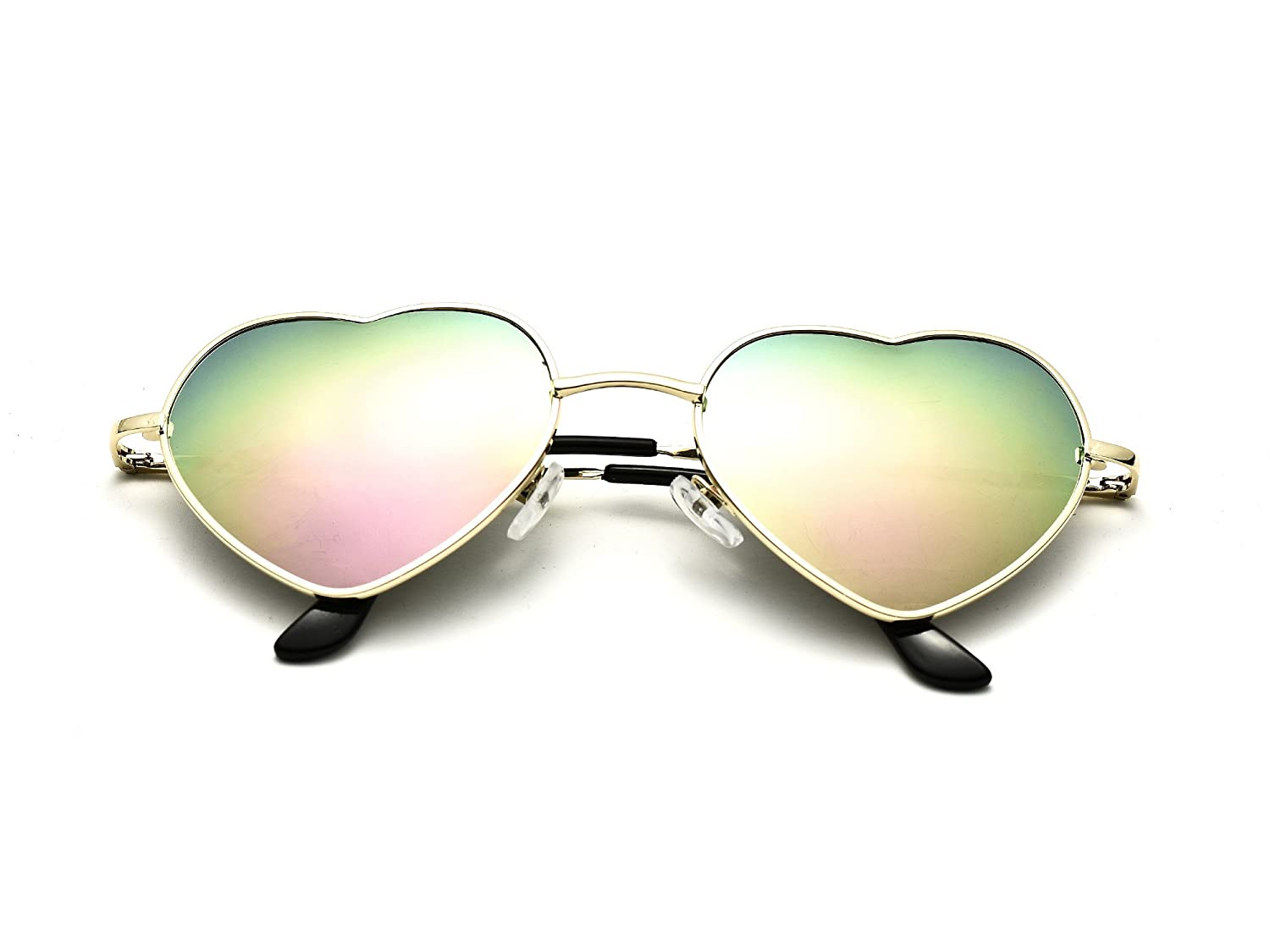 6 Packs Vintage Mirrored Lens Aviator Unisex Heart Sunglasses Metal Frame