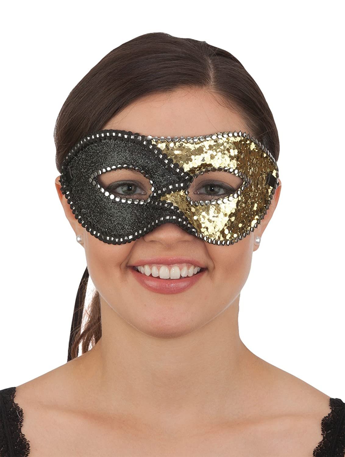 Jacobson Hat Company Sequin Glitter Mask Black Gold
