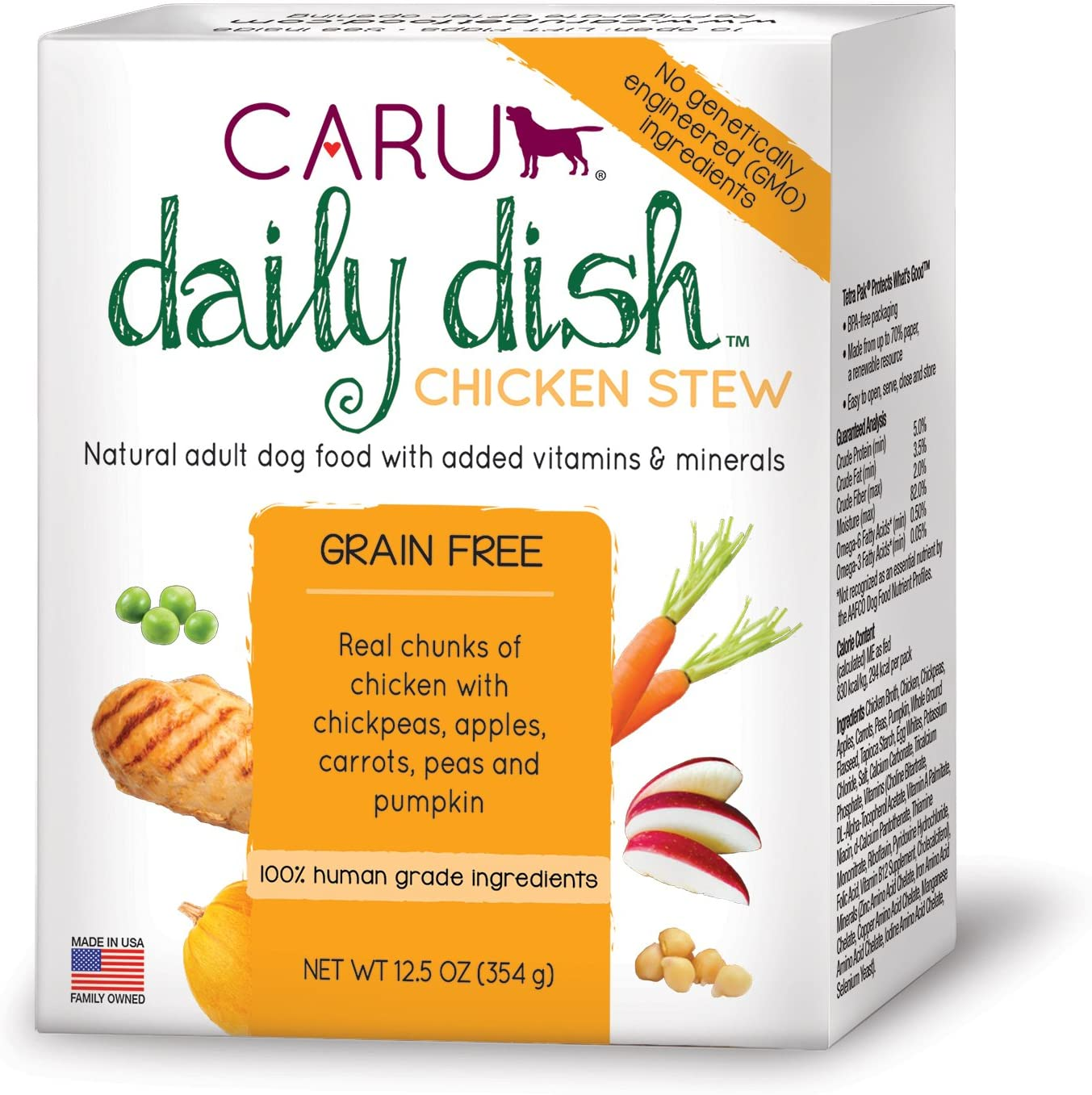Caru - Daily Dish Stew, Natural Adult Wet Dog Food with Real Chunks of Chicken, with Added Vitamins & Minerals, Non-GMO Ingredients (12.5 oz) - 12 Pack