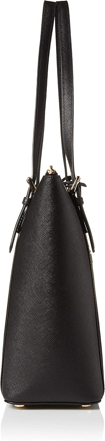 Michael Kors Ciara - Borsa da donna con zip East West Materiale Nero/Oro.