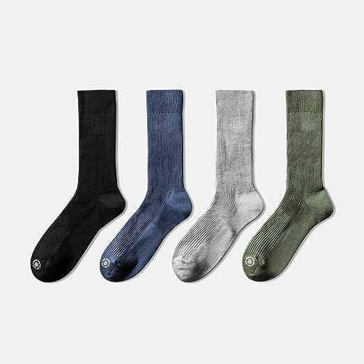 AX-living supplies Calcetines de Hombre Invierno Calor Grueso Desodorante Medias Algodón 84.5% Fibra de poliéster 14% Spandex 1.5% / 4 Pares de Negro + Azul + Gris + Verde: Amazon.es: Hogar
