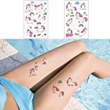 Unicorn Temporary Tattoos for Kids, Girls Cute Fake Body Art Tattoos Stickers 12 Sheets for Unicorn Themed Birthday Party Supplies Party Favors Kids Friendly