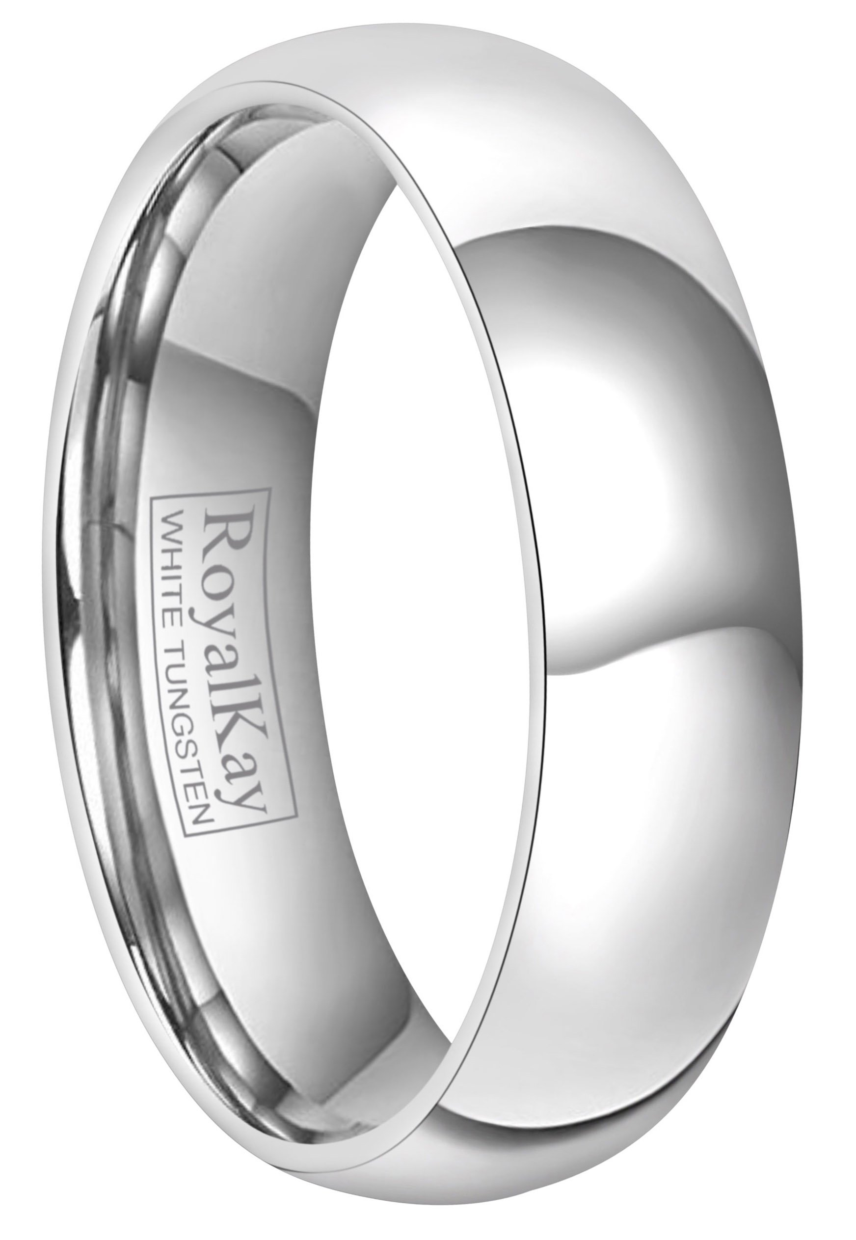 RoyalKay 2mm 4mm 6mm White Tungsten Wedding Band Ring Men Women Plain Dome High Polished Comfort Fit Size 3 To 17 (6mm,9)