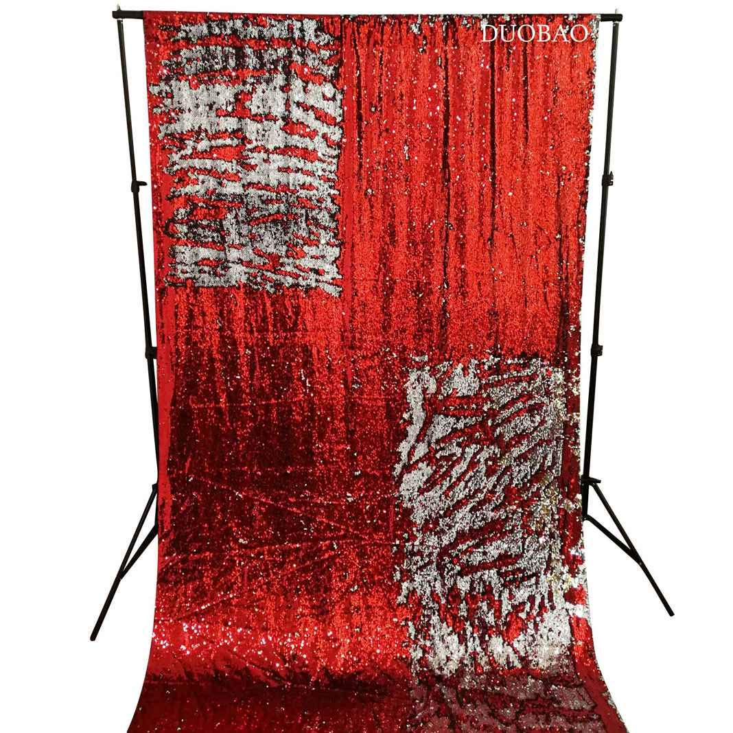 DUOBAO Sequin Backdrop 8Ft Red to Silver Mermaid Sequin Backdrop Fabric 6FTx8FT Two Tone Sequin Curtains