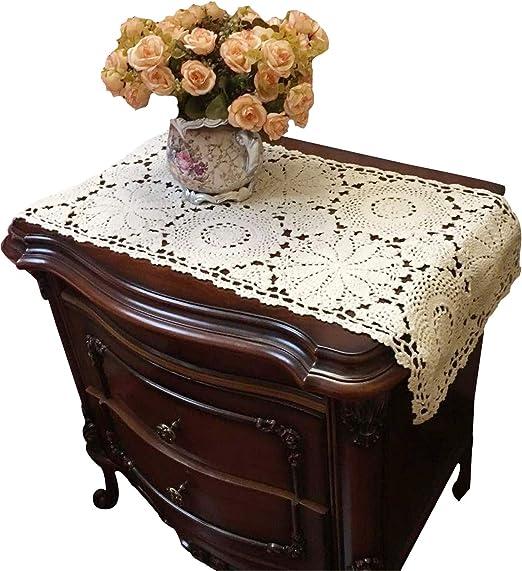 ustide Floral Camino de mesa de encaje mano mesa Crochet Blonda ...