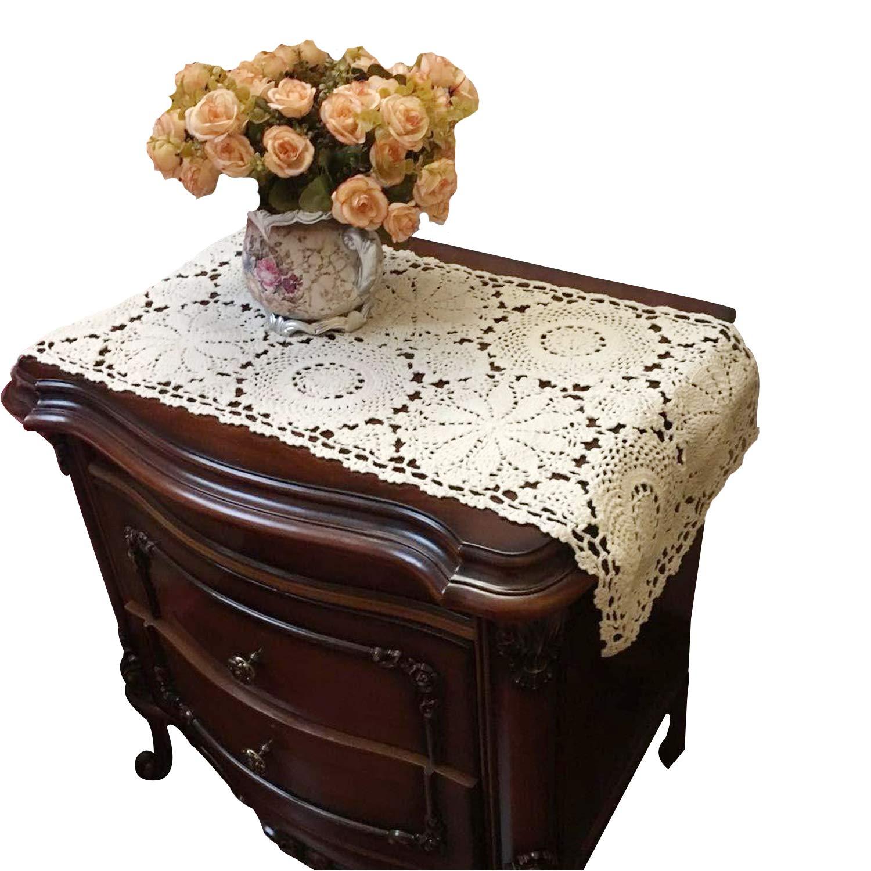 USTIDE 100% Cotton Crochet Lace Rectangular Table Runner Ecru Dresser Scarf Doilies,2pcs 11 Inch X23 Inch