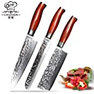 キッチンナイフCHUZHEN 3個シェフナイフ鋭い刃 - エルゴノミックハンドル - 日本ダマスカスvg10スチールコア - シェフなきりパンナイフセット