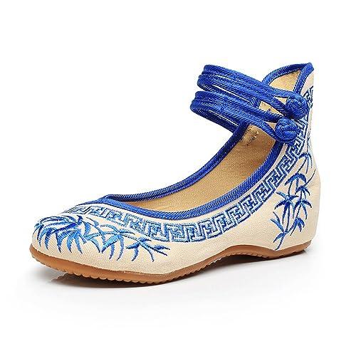 87b55d2c Zapatos de Mujer de Bordado de bambú Zapatos Planos Chinos Zapatos de Suela  Suave Mary Janes: Amazon.es: Zapatos y complementos