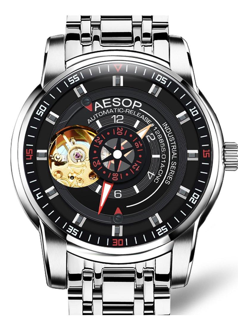 AESOP Men's seiko automatic mechanical watch, metal bracelet band waterproof Fashion (Silver)