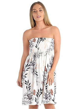 487b0bf674 janisramone Womens Ladies New Tropical Floral Leaf Print Sheering Gathered  Boobtube Mini Dress Tunic Top  Amazon.co.uk  Clothing
