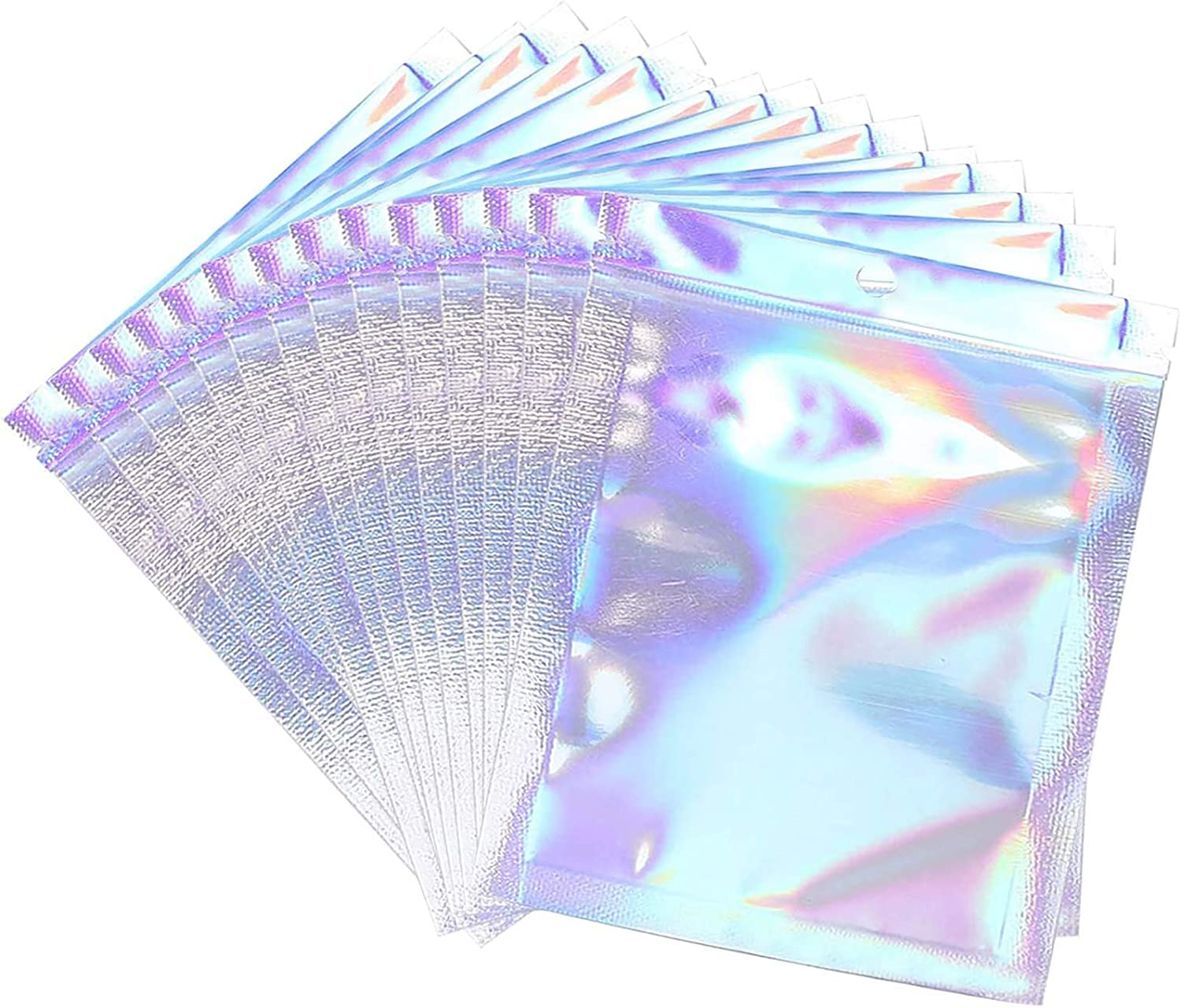 Trunple Smell Proof Bags & Resealable Foil Pouch Bag [100 PCS ] Great for Party Favor Food Storage (Holographic Color, 8 x 5.5 Inch)